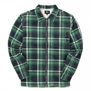 Stussy Big Wale Cord Zip Up Longsleeve Shirt ( 1110068 / 0482 / Green Plaid )