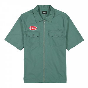 Stussy Garage Zip Up Shirt ( 1110079 / 0872 / Teal )