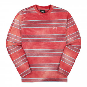 Stussy Bleach Stripe Longsleeve Crew ( 1140198 / 0601 / Red )