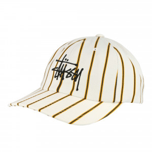 Stussy Big Logo Striped Low Pro Cap ( 131926 / 1230 / Off White )