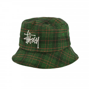 Stussy Logo Plaid Bucket Hat ( 132994 / 0401 / Green )