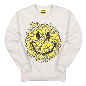 Chinatown Market Glass Smiley Crewneck ( F20-1960004 / 0008 / Grey )