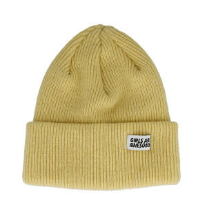 Girls Are Awesome Lambswool Merino Icon Beanie ( GAA-5-001U / Dirty Butter )