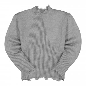 C2H4 Arc Sculpture Knit Sweater ( R002-027 / Snowflake Gray )
