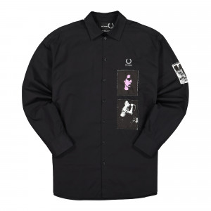 Raf Simons x Fred Perry Patched Oversized Shirt ( SM9053 / Black )