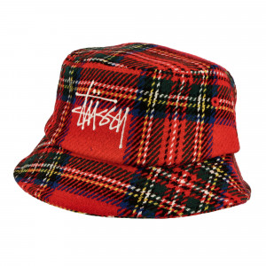 Stussy Big Logo Plaid Bucket Hat ( 1321014 / 0601 / Red )