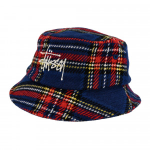 Stussy Big Logo Plaid Bucket Hat ( 1321014 / 0801 / Blue )