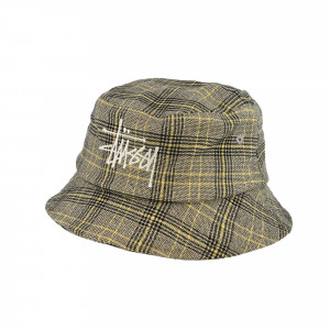 Stussy Big Logo Plaid Bucket Hat ( 132994 / 1230 / Off White )