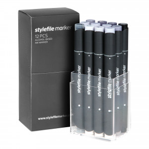 Stylefile Marker 12er Grey Set Cool