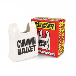 Chinatown Market Smiley Bag Ceramic Pen Holder ( CTM2600178 / 1002 / Natural )