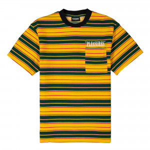 Pleasures Chainsmoke Stripe SS Shirt ( P20SU020 / Yellow / Green )